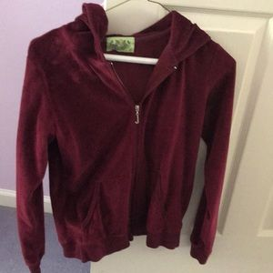 Burgundy Juicy Couture zip up. Size L.
